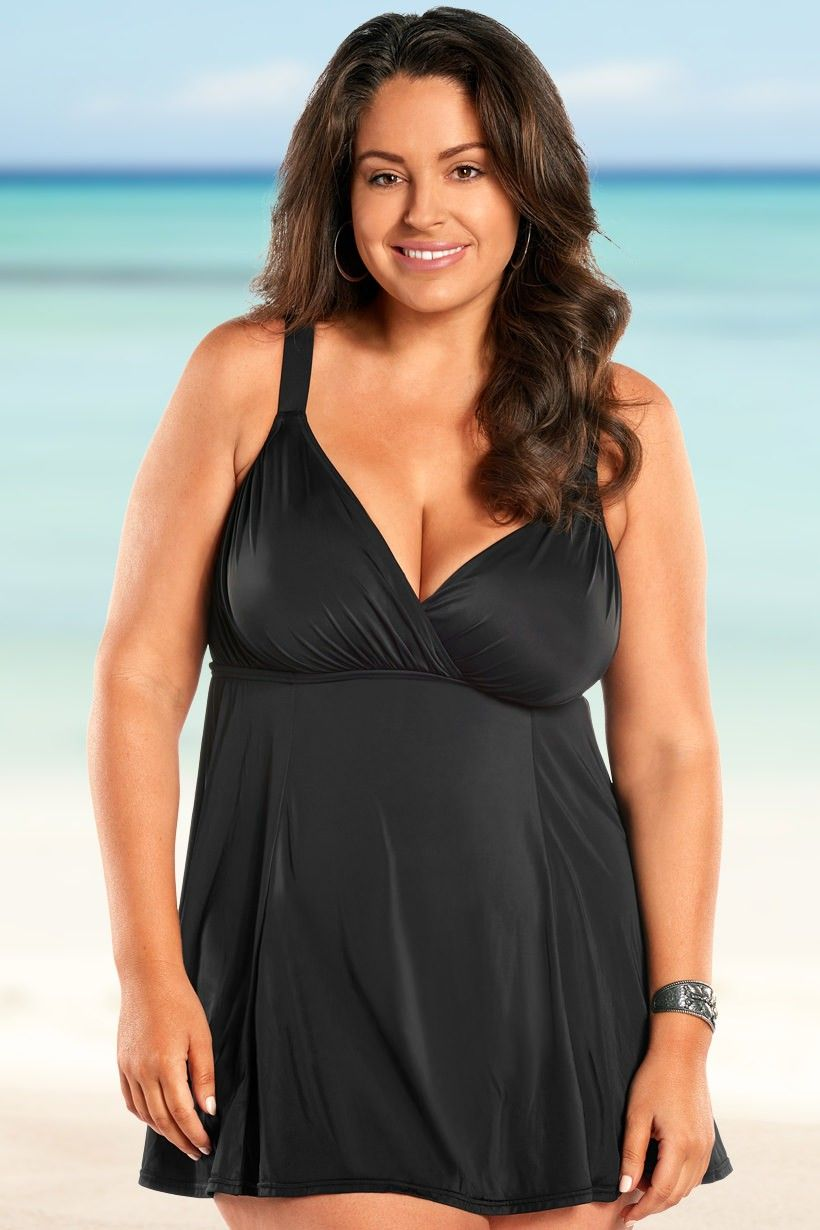 d80f708464b Always For Me Control Raven Plus Size Swimdress