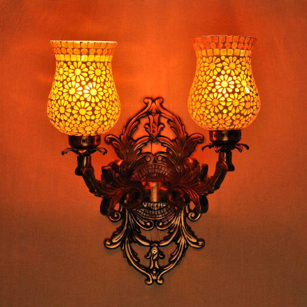 Mosaic Glass Vintage Style Metal Fitting Mount Wall Light Modern Lighting For Bed Room Hallway Decor Hallway Decorating Mosaic Glass Glass Lamp Shade