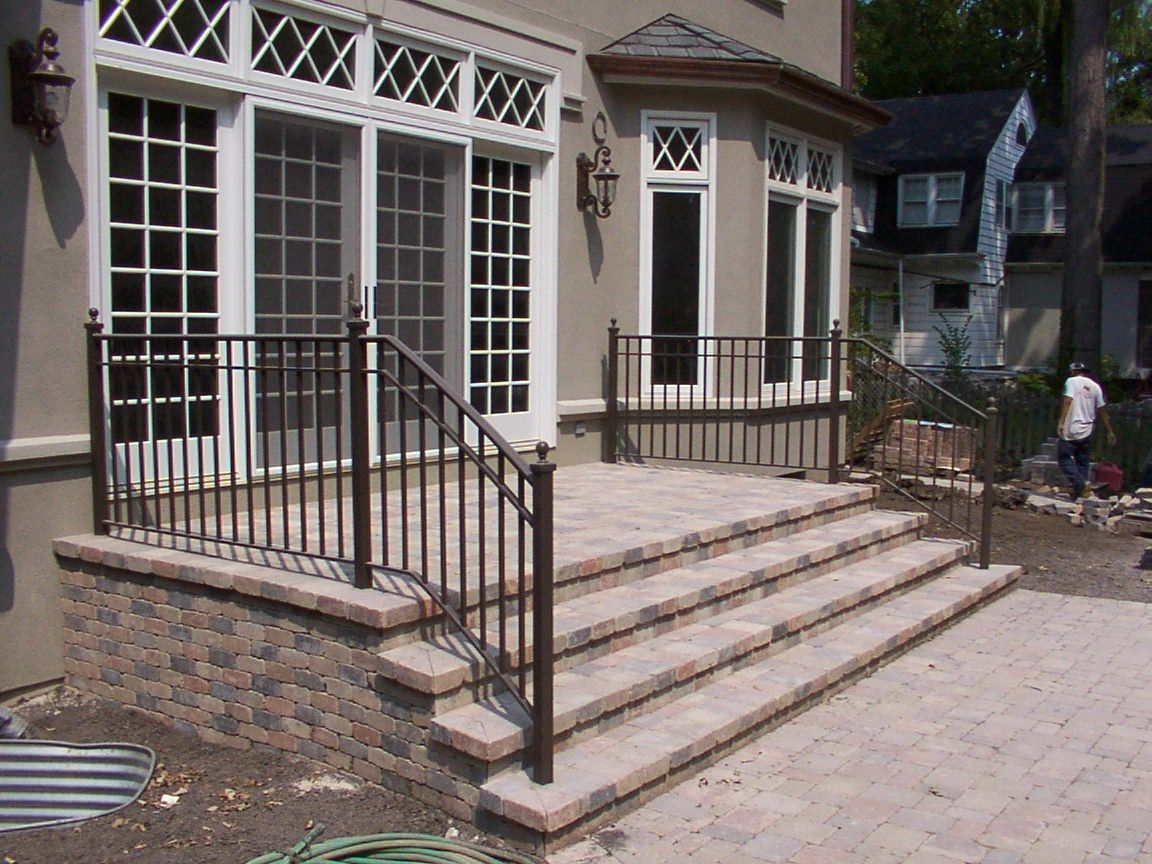 Adding Railing To Your Exteriors Can Give The Outside A Completely | Outside Porch Step Railings | Wrought Iron Railings | Stair Stringers | Vinyl Railing | Concrete Steps | Railing Ideas