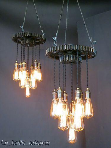 Vintage Pair Lights KeBay L of Industrial Pendant Gear l1J5FTK3uc