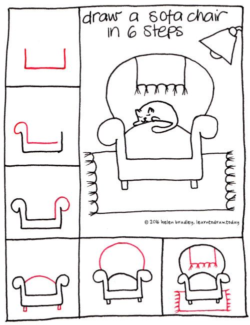 Learn To Draw A Sofa Chair In 6 Easy Steps Easy Drawings Drawing For Kids Kawaii Drawings