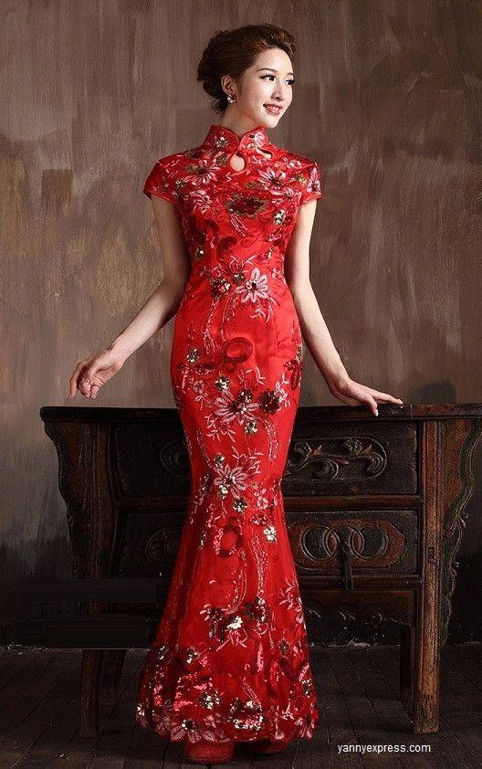 Chinese Bridal Qipao Long Evening Cheongsam Wedding Tail Gown