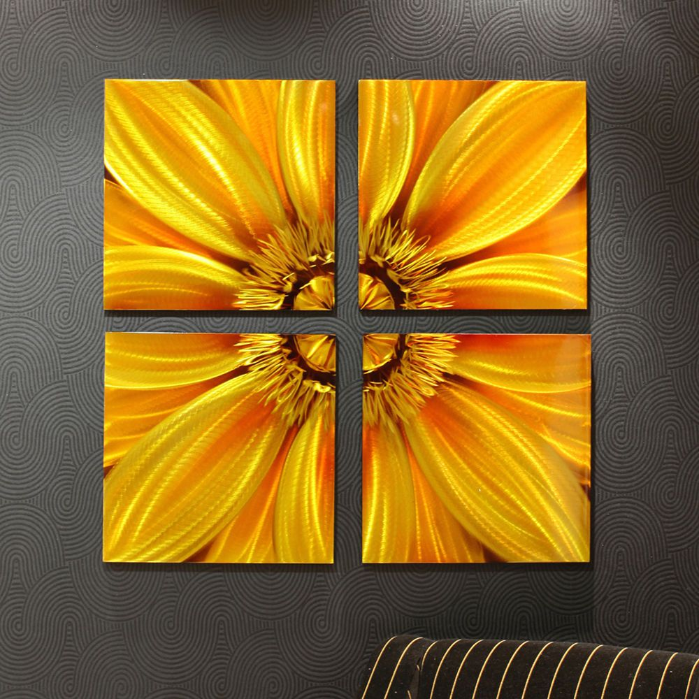 Sunflower Flower Floral Metallic Printed Aluminum Wall Art ...