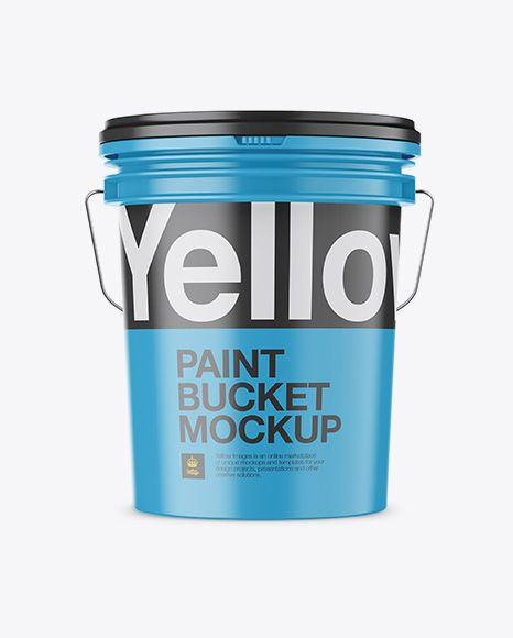 Matte Plastic Paint Bucket Mockup Front View In Bucket Pail Mockups On Yellow Images Object Mockups Paint Buckets Mockup Free Psd Mockup