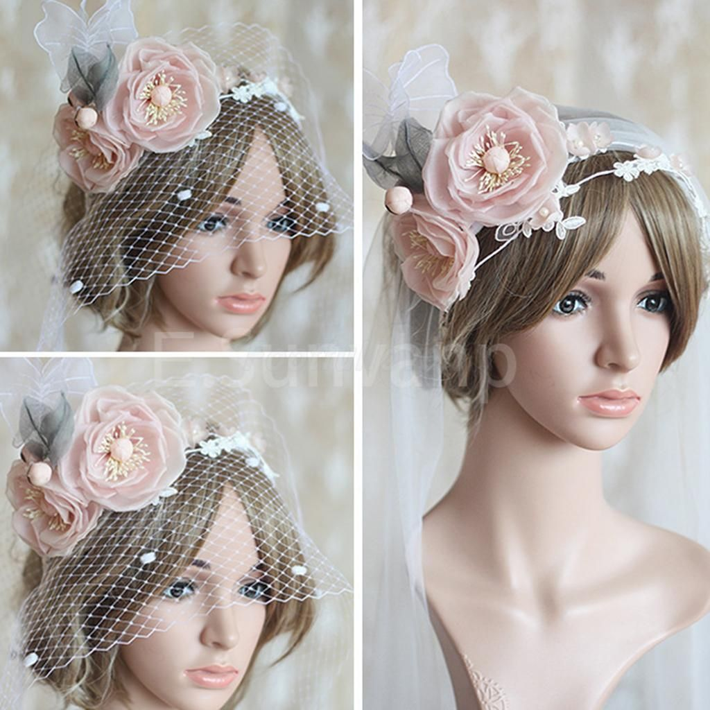Wedding Headdress Bridal Net Tulle Face Veil Fascinator Veils Women Headband   eBay