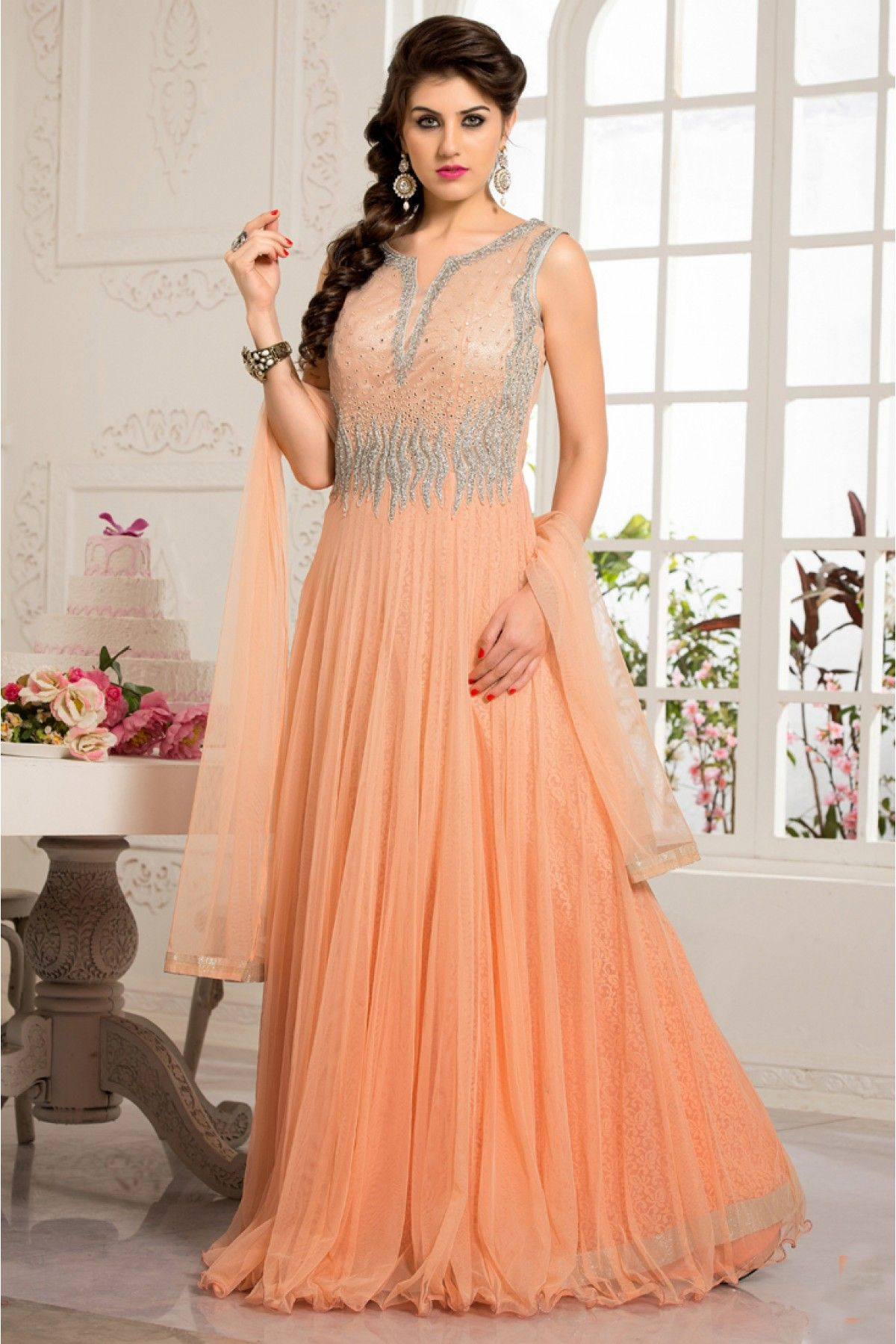 Designer salwar kameez mesmeric peach color net designer suit - Net Semi Stitched Party Wear Gown In Peach Colour
