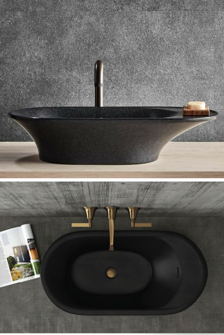 40 Spectacular Stone Bathroom Design Ideas: Opus Stone Basin / Black Sink / Gold Bathroom / Stylish