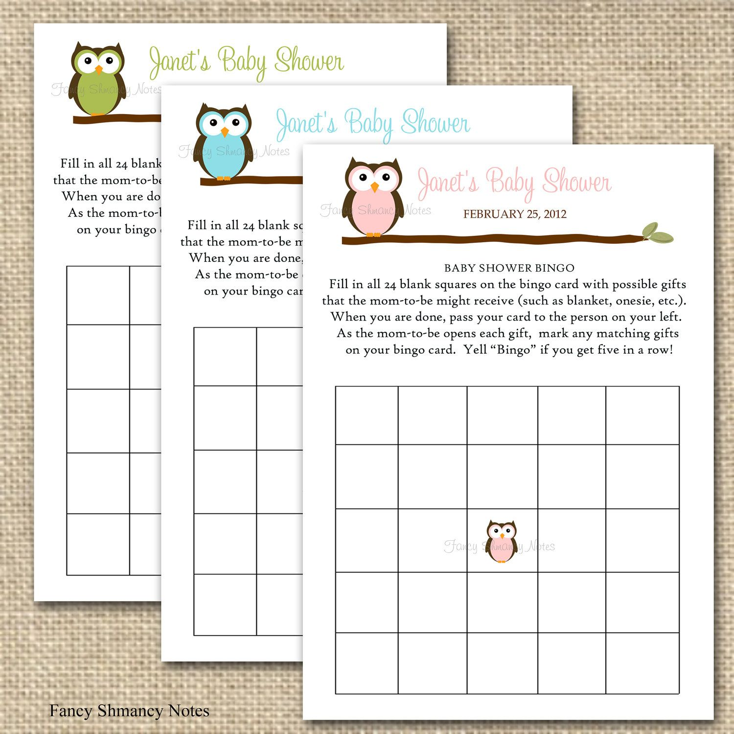 Owl Baby Shower Bingo Game Cards Green Owl Instant Download Printable
