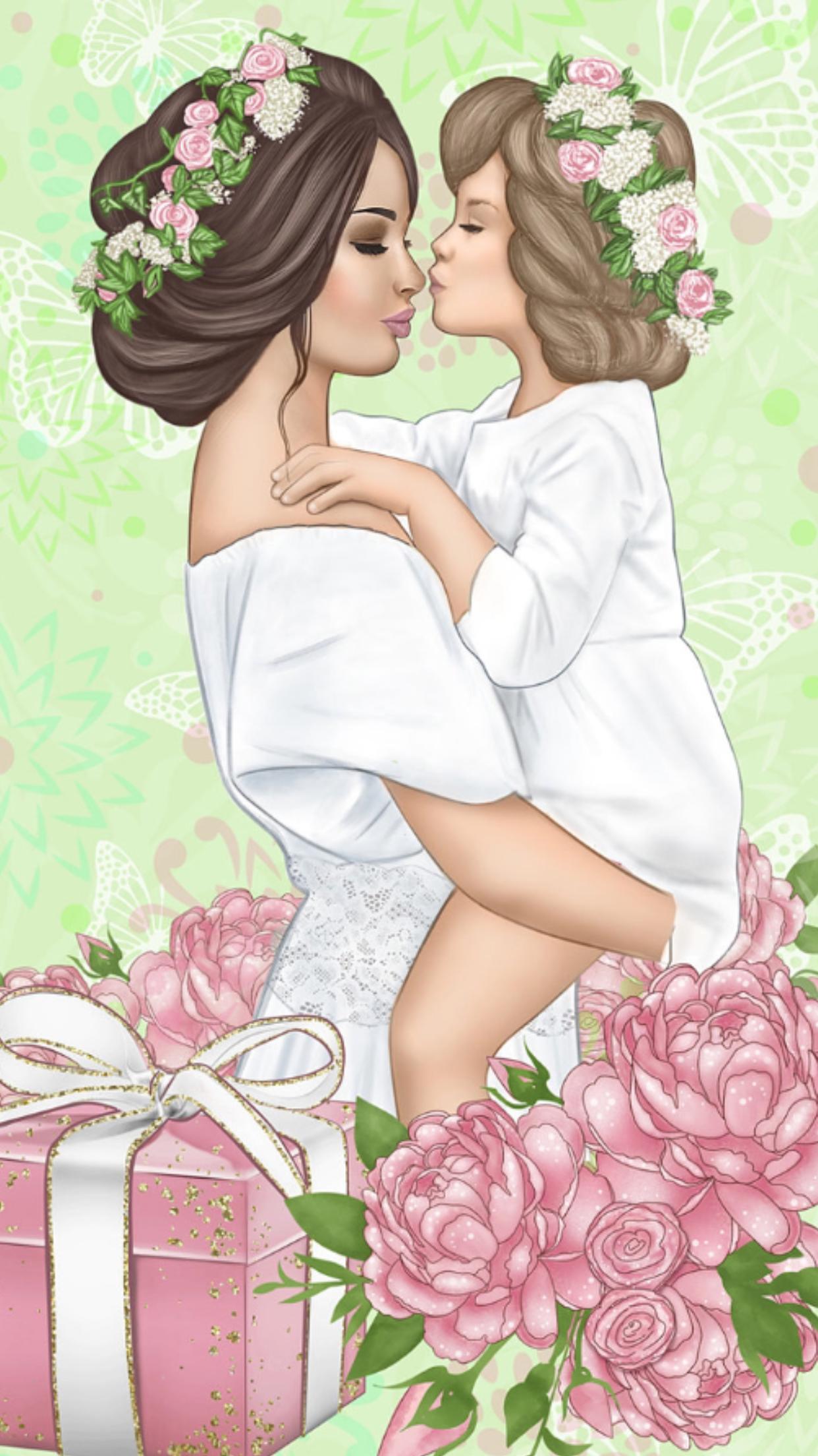 Мама и дочка картинка арт