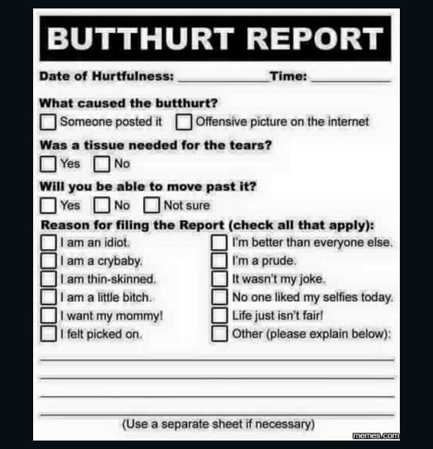 Butt hurt report form | Funny | Pinterest | Humor