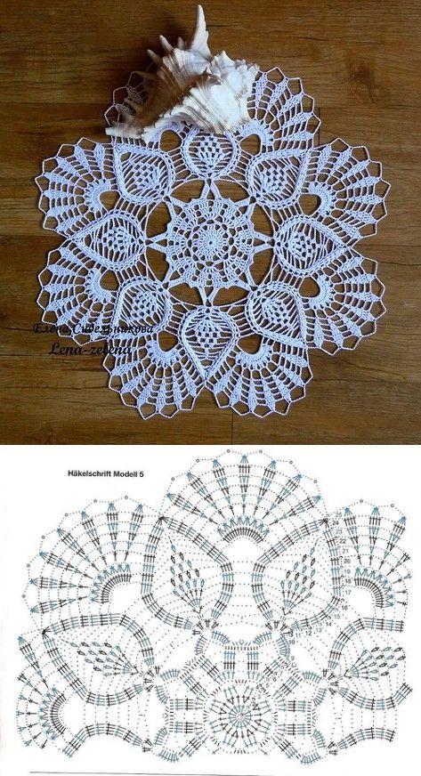 Round napkin with pineapples | Croshe | Pinterest | Deckchen ...