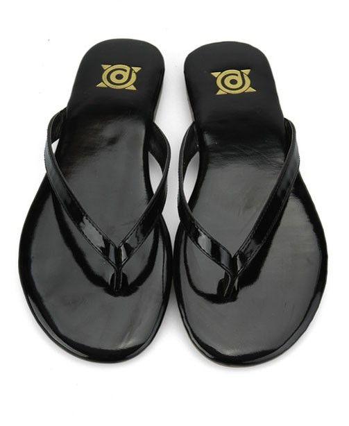 Patent Black Flip Flops, classy and