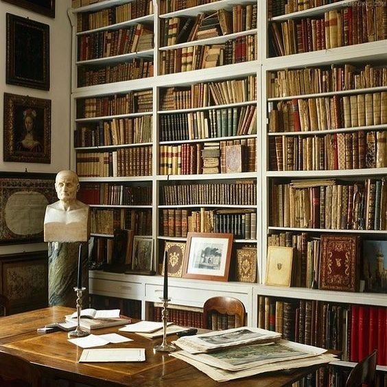 Stylish Understairs Study: We Should Add Some Leather Bound Antique Books To The