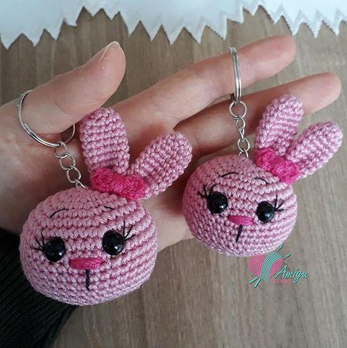 Little Bunny Keychain Amigurumi Ganchillo Amigurumi Patrones