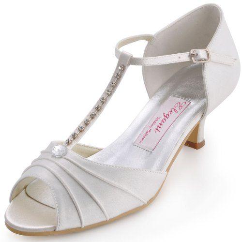Cool El 035 Women Peep Toe T Strap Buckle Rhinestones Low Heel Satin Wedding Shoes Bridal Sandals Bridal Shoes Low Heel Ivory Wedding Shoes Low Heel