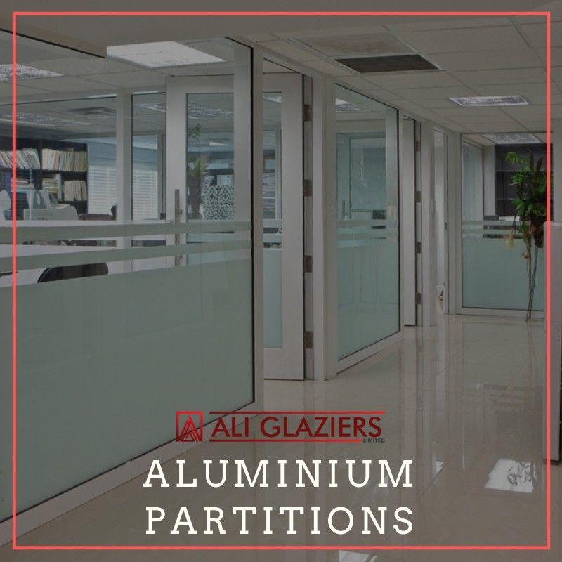 Aluminium Partitioning With White Powder Coated Aluminium Glazed