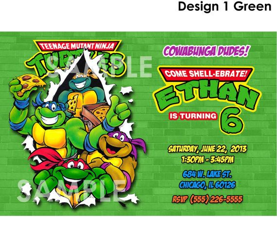 TMNT Invitation  Printable Teenage Mutant by KidsPartyPrintables, $7.99