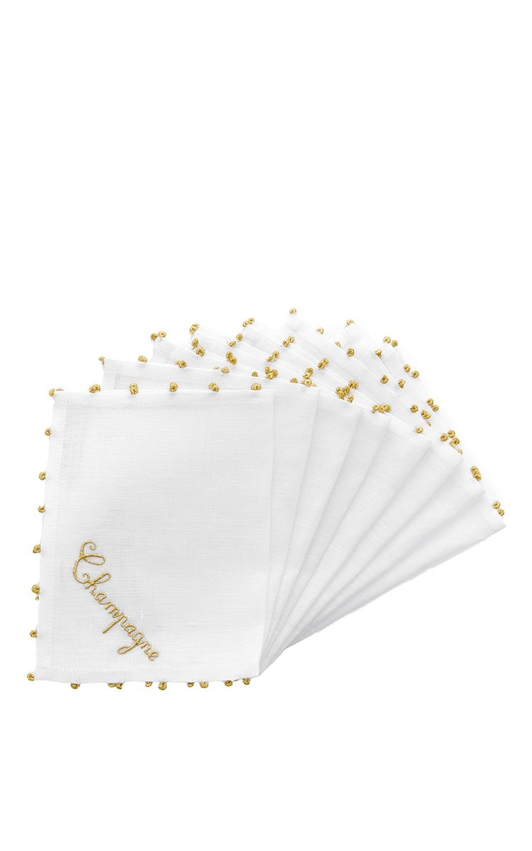 Set Of 8 Embroidered Linen Champagne Napkins  by JULIA B. COUTURE LINENS Now Available on Moda Operandi