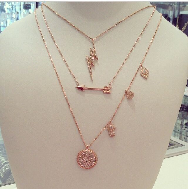 Sterling silver rose tone necklaces