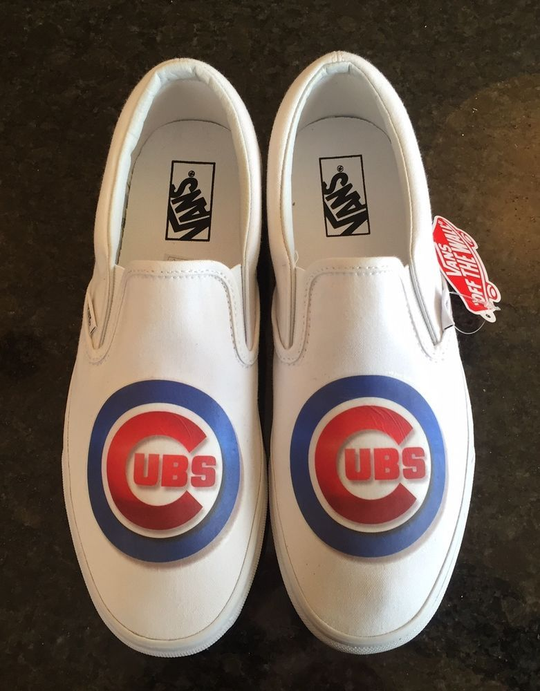 38171936fbf Custom CHICAGO CUBS Vans Shoes Mens 9.5 Leather NIB