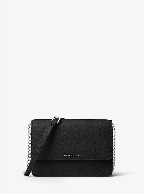 3e6ebf0b590c ... bags on the official Michael Kors Canada site. Daniela Large Leather  Crossbody | Black with Silver Chain