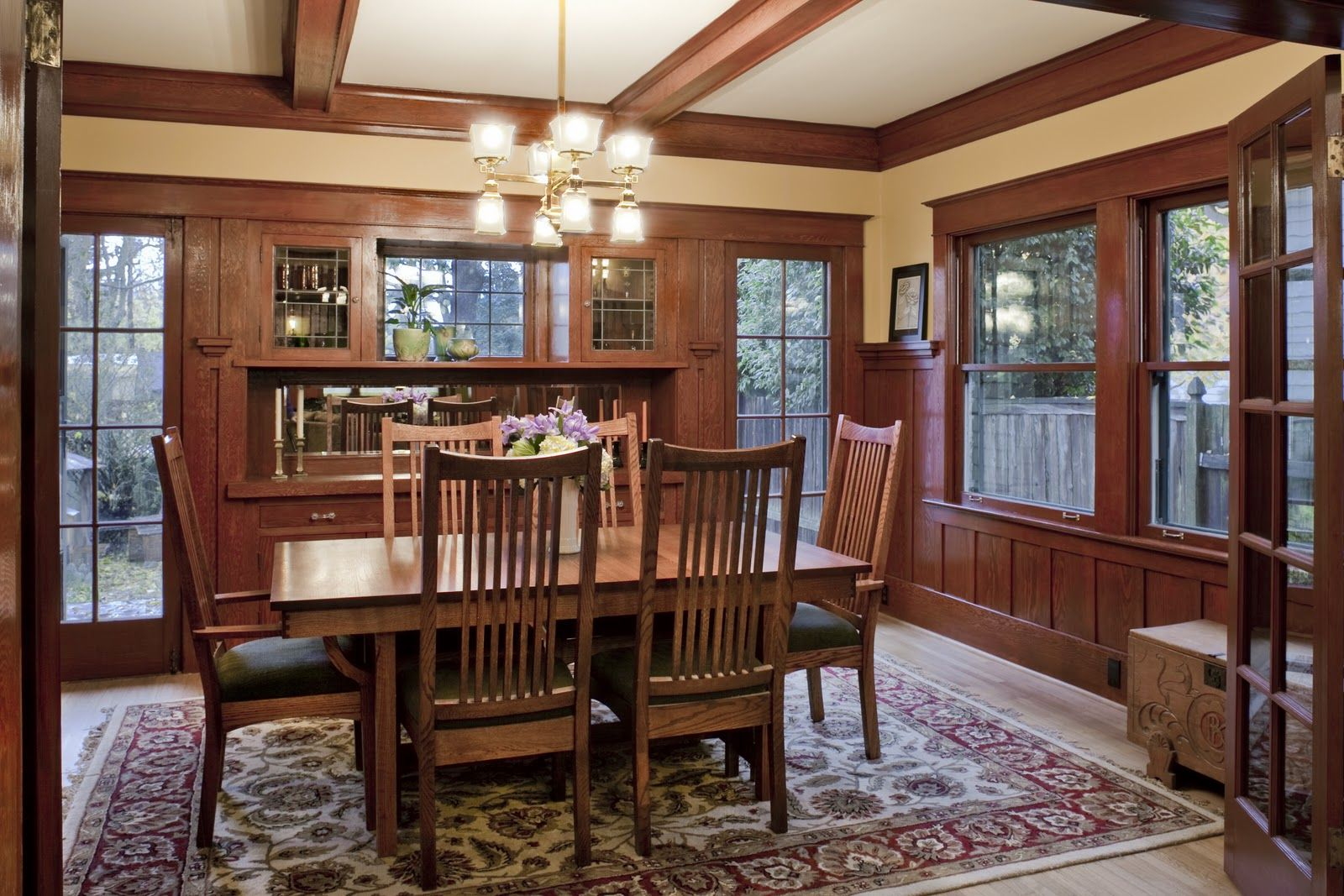 Craftsman Dining Room With Wainscoting Paneling And Built In China Cabinet House Remodeled By Design Renovation