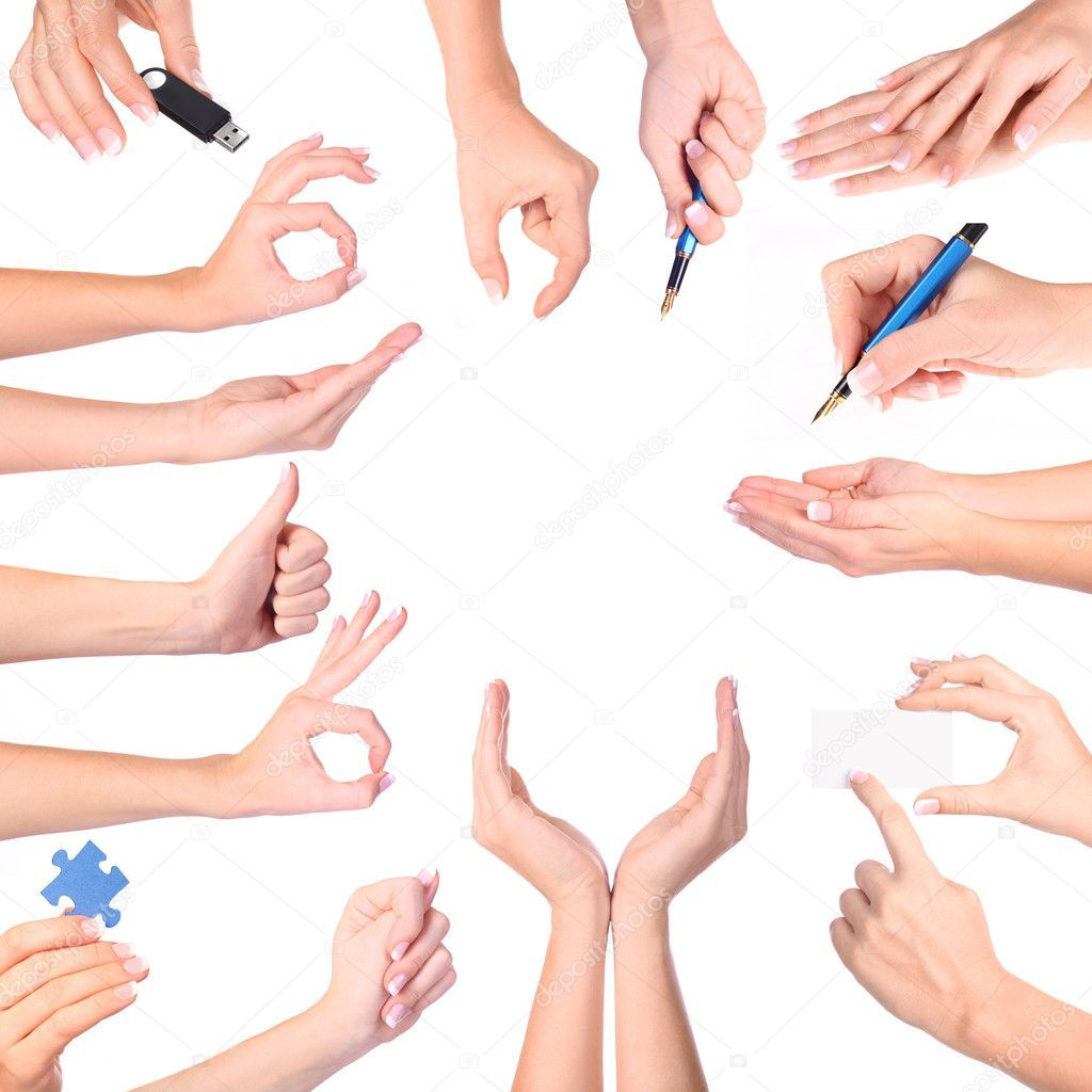 Hand gestures set, isolated Stock Photo , Aff, set,