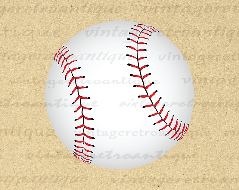 Digital Baseball Printable Image Ball Download Color Vector Graphic Antique Clip Art Printable Digital Image Printable Image Digital Image Downloadable Art