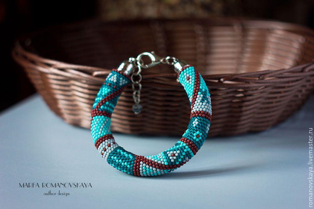 Купить Браслет из японского бисера - разноцветный, жгут из бисера, браслет жгут, марфа романовская, бирюзовый