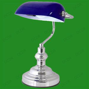15 advocate bankers desk lamp blue glass shade chrome office 15 advocate bankers desk lamp blue glass shade chrome office aloadofball