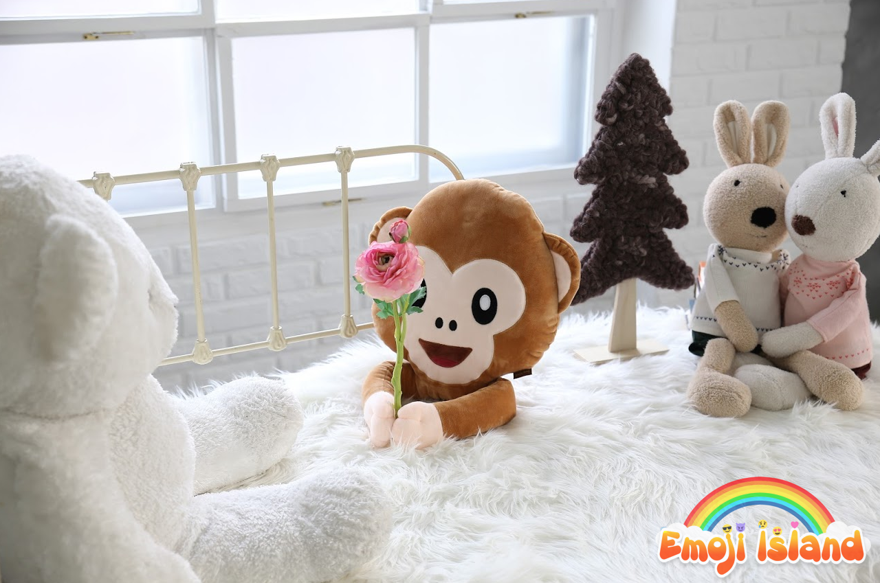 This Cute Monkey Emoji Pillow Is Proposing To A Bear Plush It Is Going To Make The Shy Face After The Proposal Monkey Emoji Pillow Emoji Pillows Monkey Emoji