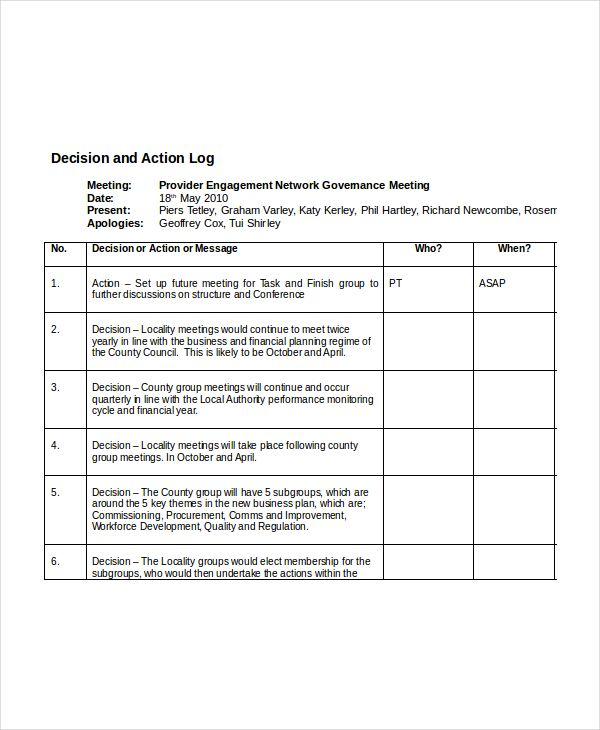 Key Log Template Decision 5 6 Download \u2013 bbfinancialsinfo
