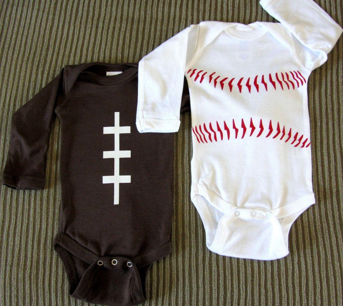Football and Baseball Onesie Newborn LongSleeve by TheGALShop ...