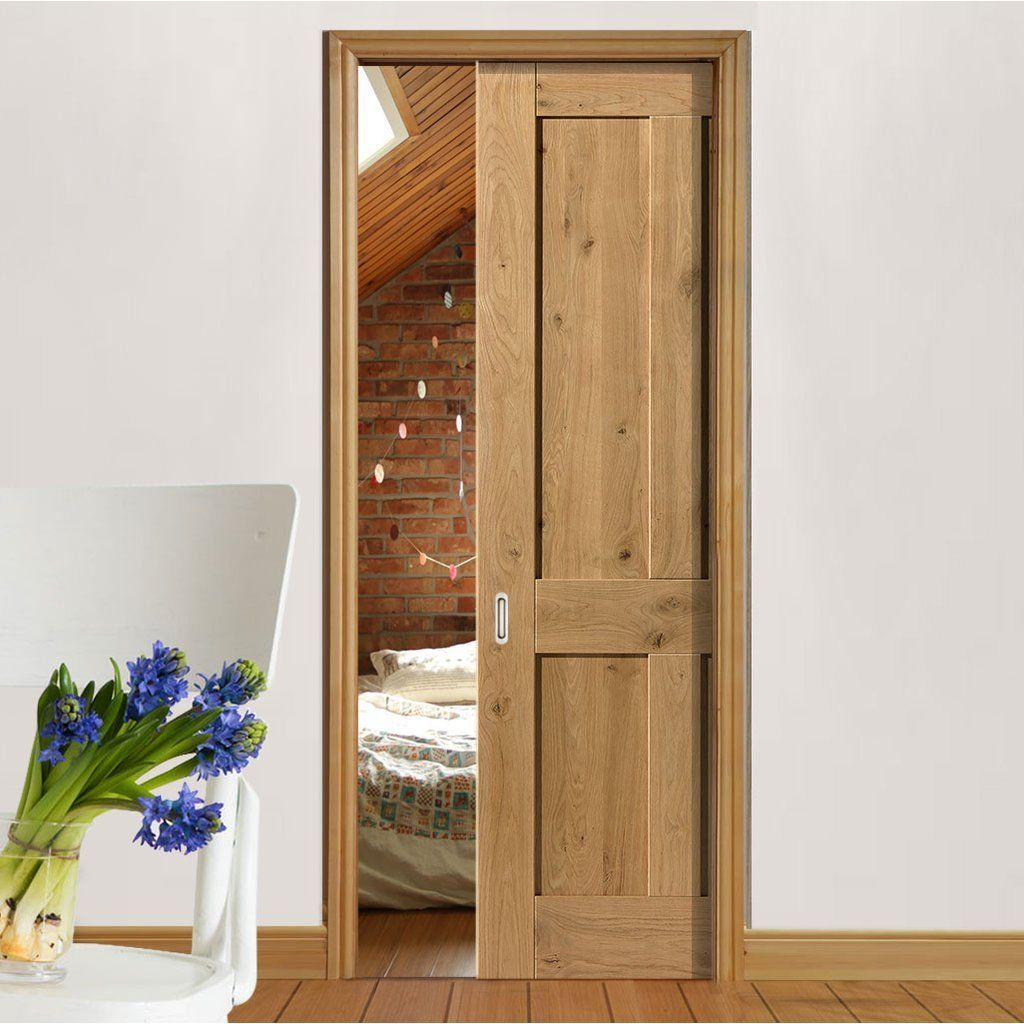 Single Pocket Rustic Oak Shaker 4 Panel Prefinished Door