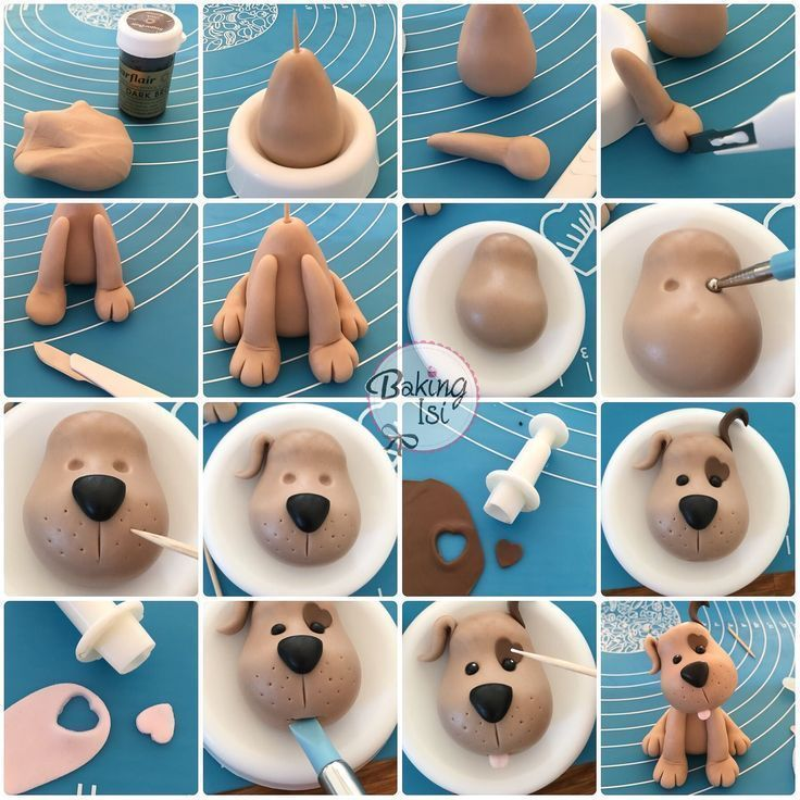 Making of, Tutorial, Fondant Caketopper Hund, Welpe, Hund .....- Making of, Tutori ...