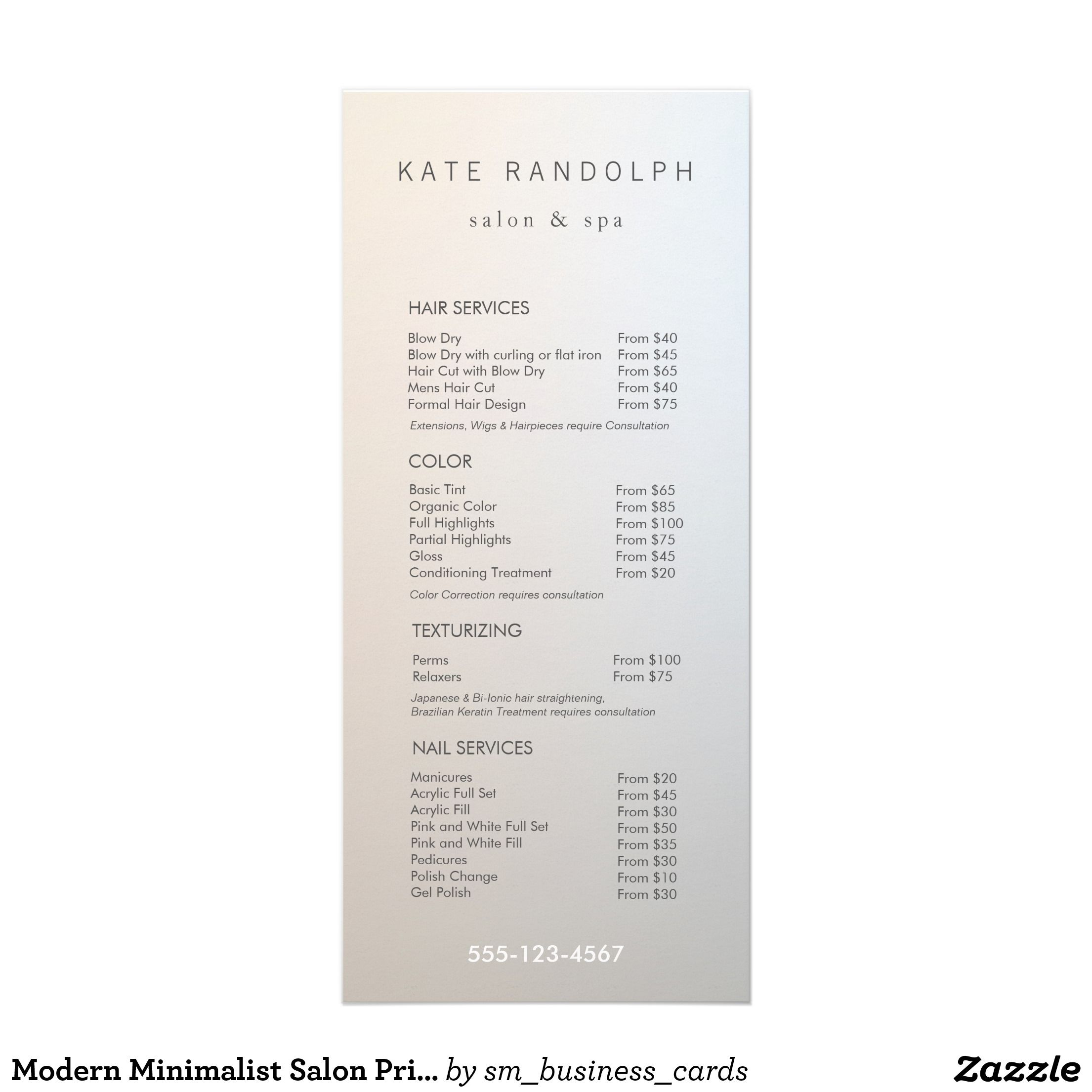 Beauty Salon Prices Modern Minimalist Salon Price List Service Menu Zazzle