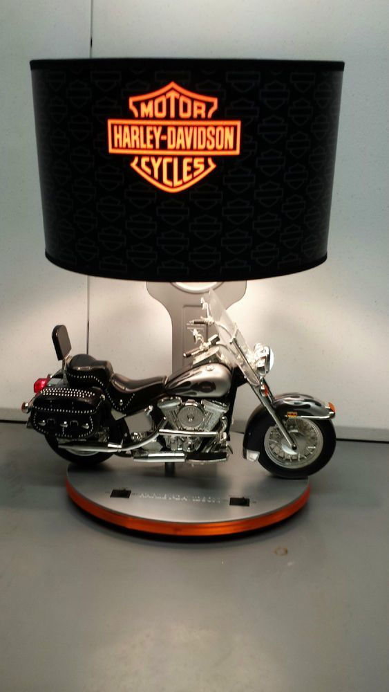 Harley Davidson Table Lamp With Head Tail Lights Night