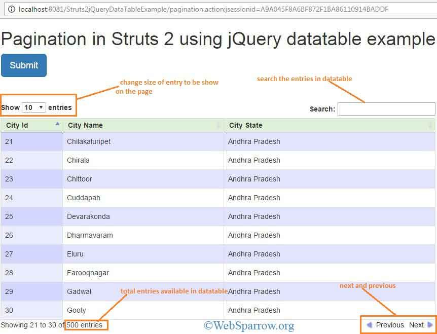 Pagination in Struts 2 using jQuery datatable | WebSparrow