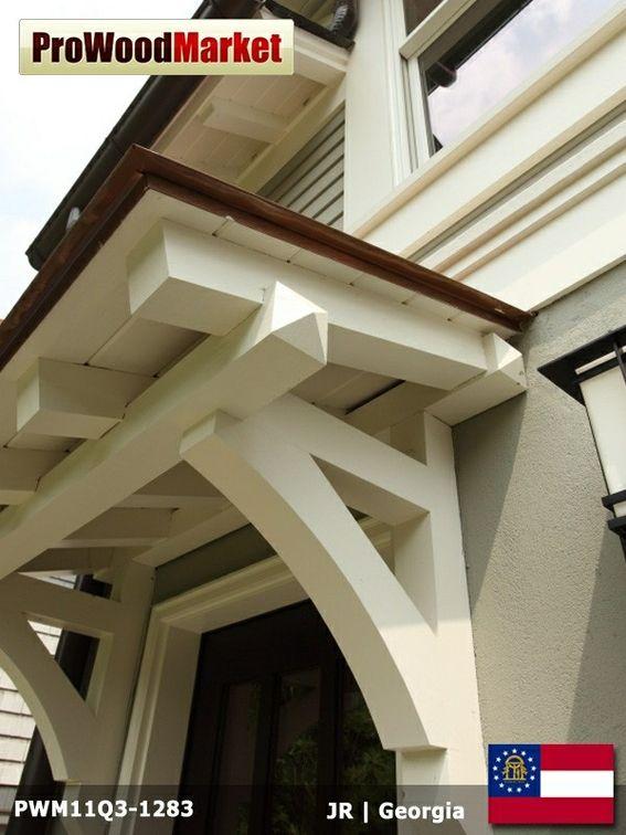 Custom Door Awning Craftsman Style With Wooden Bracket Metal