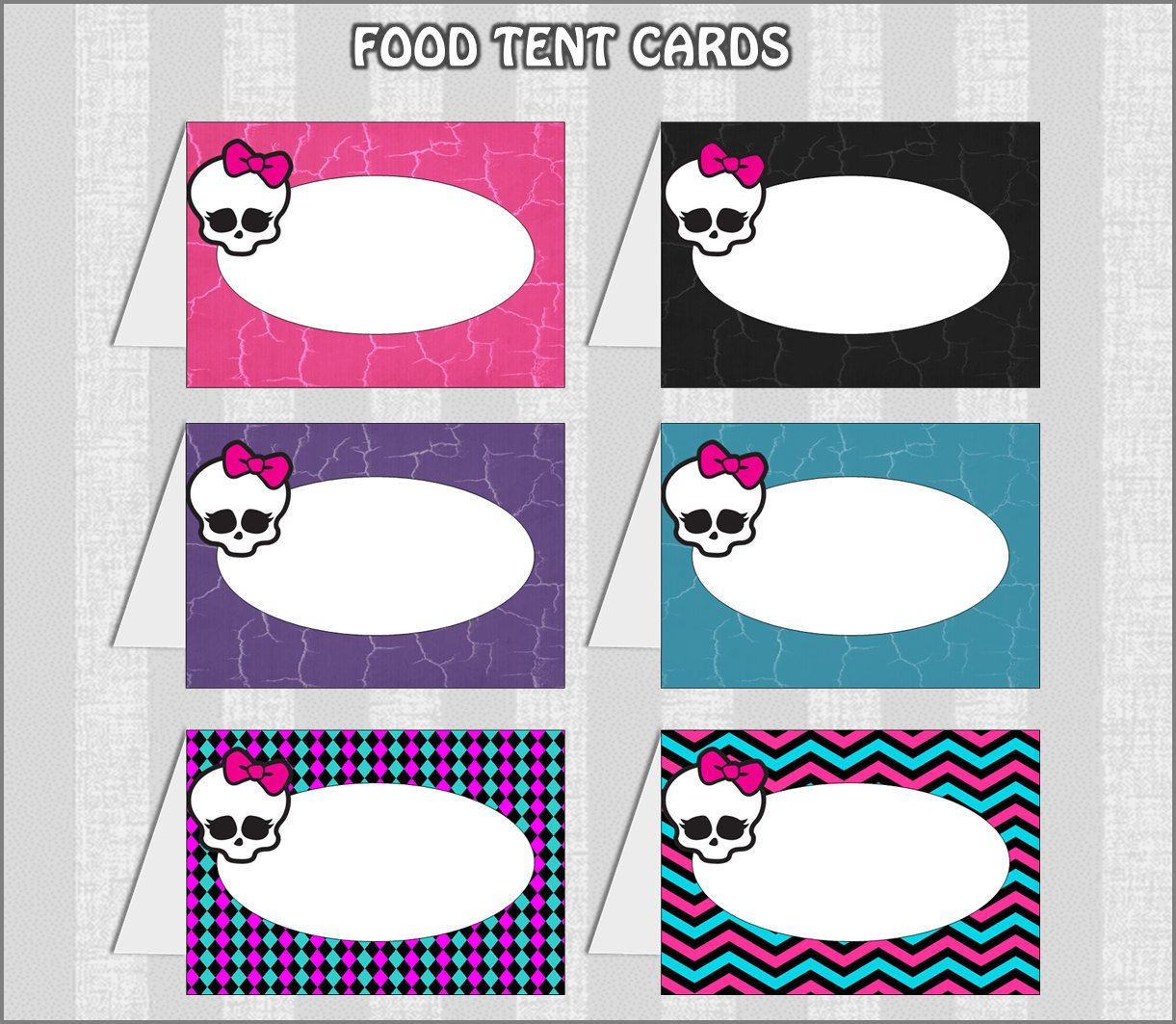 MONSTER HIGH Inspire Food Label Tent Cards  sc 1 st  Pinterest & MONSTER HIGH Inspire Food Label Tent Cards | Monster High party ...