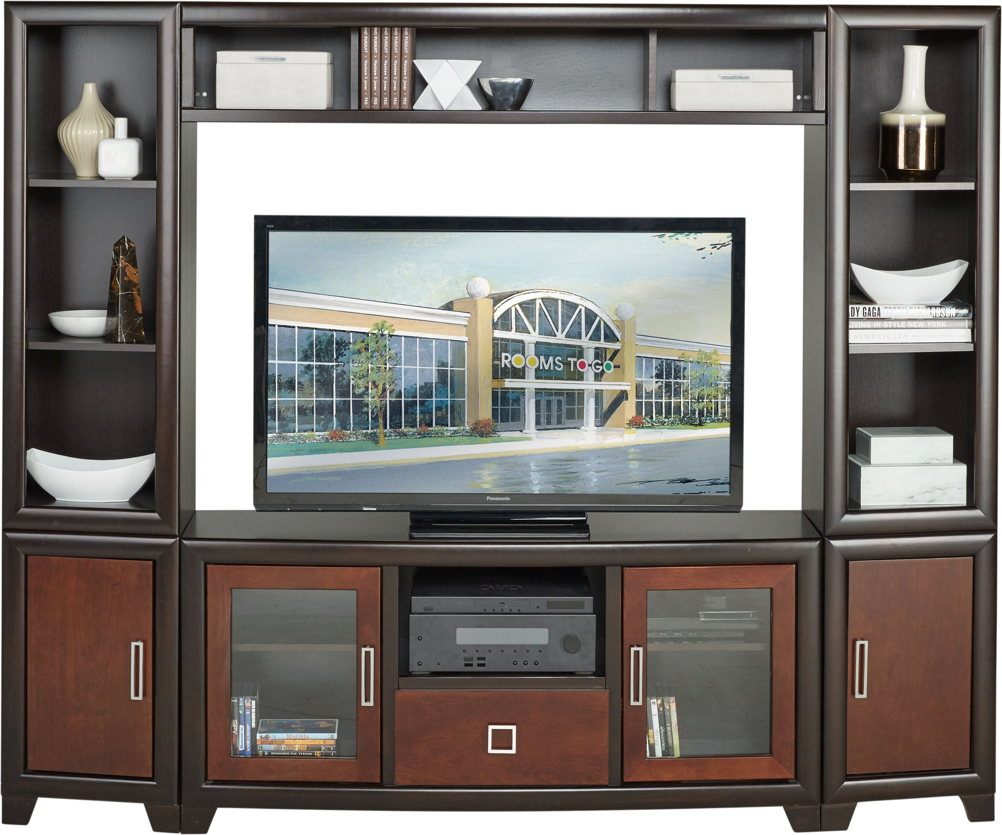 Winton Chocolate 4 Pc Wall Unit Home Entertainment Entertainment Center Wall Unit Wall Unit