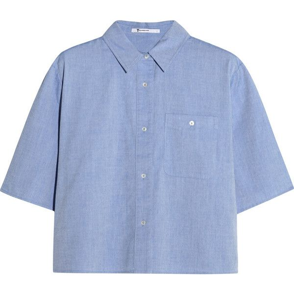 T by Alexander Wang Cropped cotton-chambray shirt (19.865 RUB) ❤ liked on Polyvore