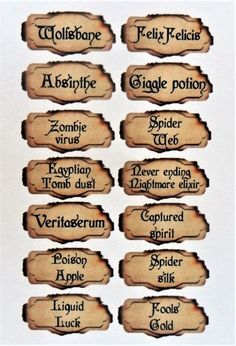 56 mini potion labels, for mini bottles, apothecary, crafting. Each label different text great for harry potter theme gothic theme party