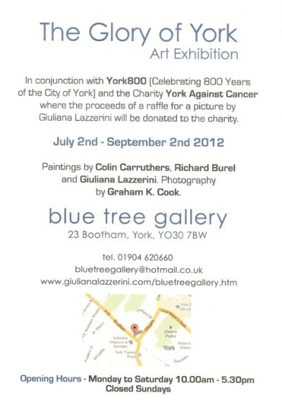 """Back flyer for """"The Glory of York"""" Art Exhibition Summer 2012"""