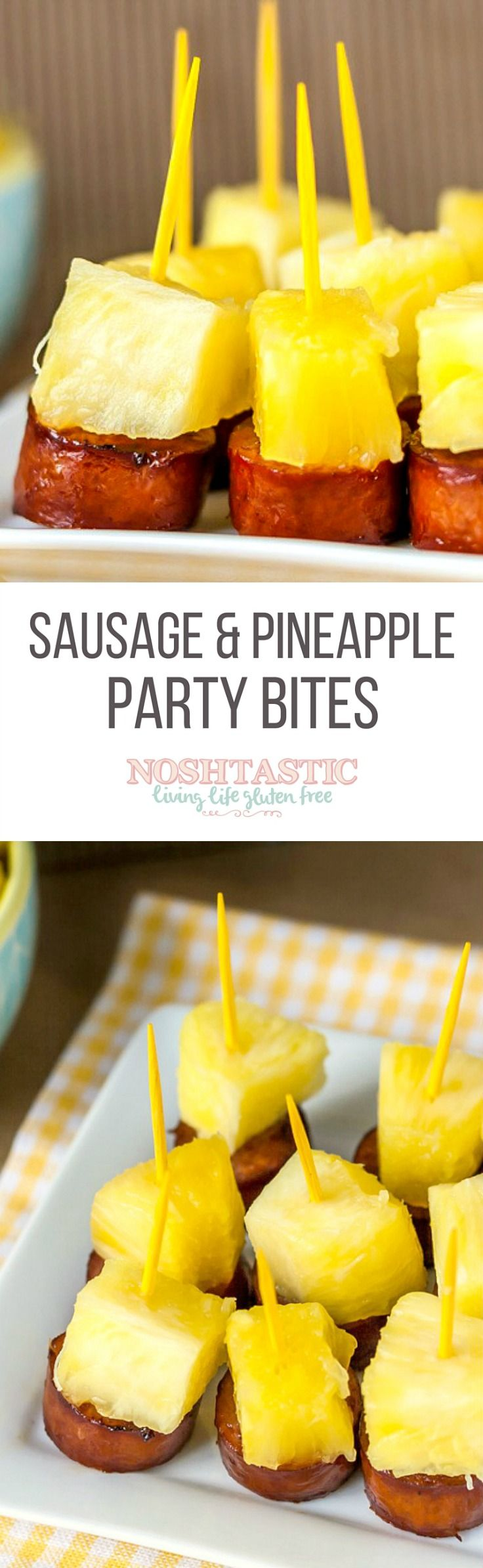 These fun little Sausage and Pineapple Party Bites are easy to make in a hurry and would make a great appetizer for your next party! #fingerfoodpartyappetizers