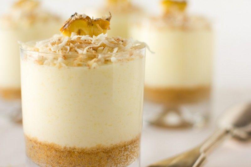Pineapple coconut cheesecake individuals: little Piña Colada-like treats » cake crumbs & beach sand
