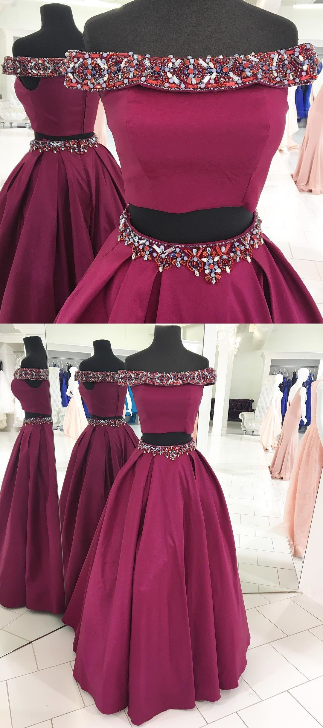 prom dress two piece fuchsia long prom dress off the shoulder