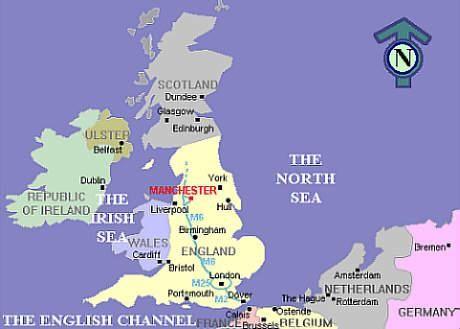 UK Map Showing Manchester Location  England Uk