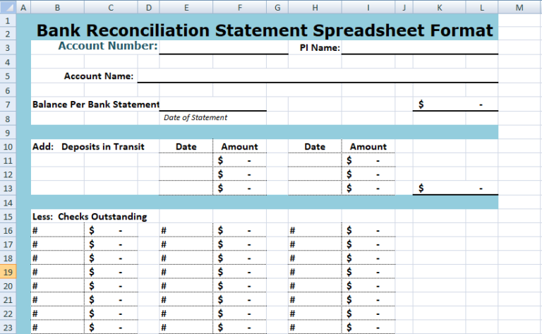 bank reconciliation statement spreadsheet financial management