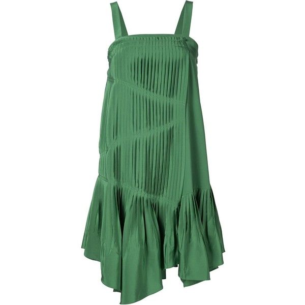 Tibi Pleated Stry Dress 340 Liked On Polyvore Featuring Dresses Green